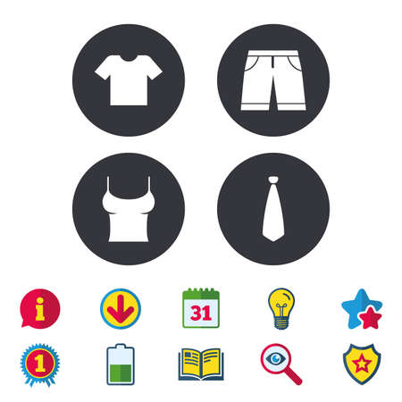 Clothes icons. T-shirt and bermuda shorts signs. Business tie symbol. Calendar, Information and Download signs. Stars, Award and Book icons. Light bulb, Shield and Search. Vector Illustration