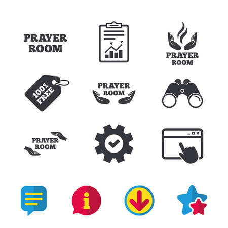 Prayer room icons. Religion priest faith symbols. Pray with hands. Browser window, Report and Service signs. Binoculars, Information and Download icons. Stars and Chat. Vector