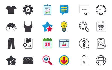 Kleren pictogrammen. T-shirt en broek met korte broekborden. Zwembroek symbool. Chat-, rapport- en kalenderborden. Sterren, Statistieken en Download pictogrammen. Vraag, klok en wereld. Vector