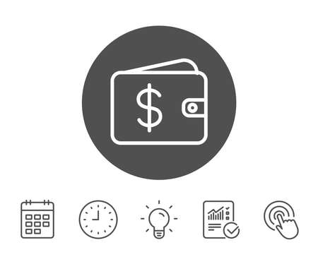 Shopping Wallet line icon. Dollar sign. USD Money pocket symbol. Report, Clock and Calendar line signs. Light bulb and Click icons. Editable stroke. Vector
