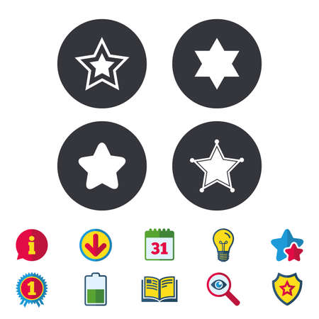 Star of David icons. Sheriff police sign. Symbol of Israel. Calendar, Information and Download signs. Stars, Award and Book icons. Light bulb, Shield and Search. Vector Illustration