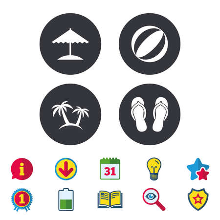 Beach holidays icons. Ball, umbrella and flip-flops sandals signs. Palm trees symbol. Calendar, Information and Download signs. Stars, Award and Book icons. Light bulb, Shield and Search. Vector Illustration