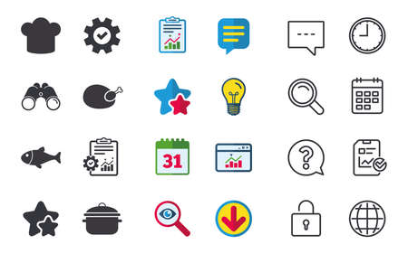 Chief hat and cooking pan icons. Fish and chicken signs. Boil or stew food symbol. Chat, Report and Calendar signs. Stars, Statistics and Download icons. Question, Clock and Globe. Vector Illustration