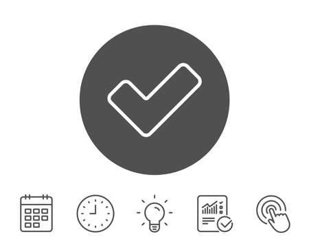 Check line icon. Approved Tick sign. Confirm, Done or Accept symbol. Report, Clock and Calendar line signs. Light bulb and Click icons. Editable stroke. Vector Stock fotó - 84955230