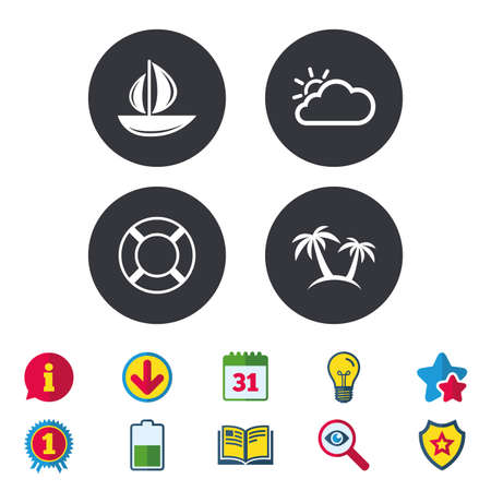 Travel icons. Sail boat with lifebuoy symbols. Cloud with sun weather sign. Palm tree. Calendar, Information and Download signs. Stars, Award and Book icons. Light bulb, Shield and Search. Vector 向量圖像