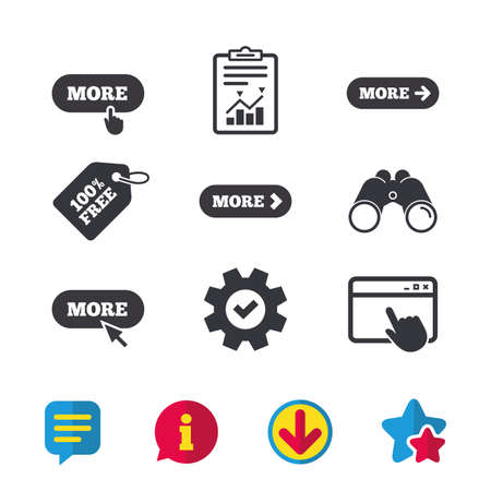 More with cursor pointer icon. Details with arrow or hand symbols. Click more sign. Ilustracja