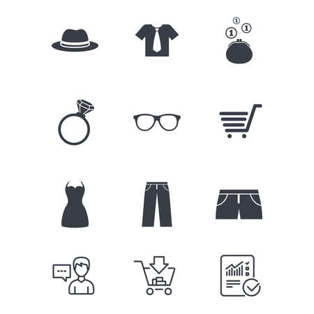 Clothes, accessories icons. Shirt, glasses and hat signs. Wallet with cash coins symbols.