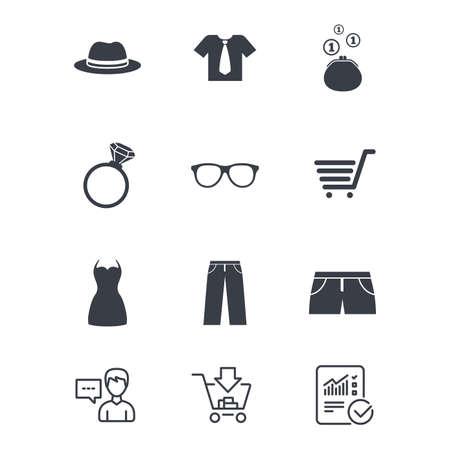 Kleding, accessoires pictogrammen. T-shirts, glazen en hoedentekens. Portemonnee met contant geld munten symbolen.