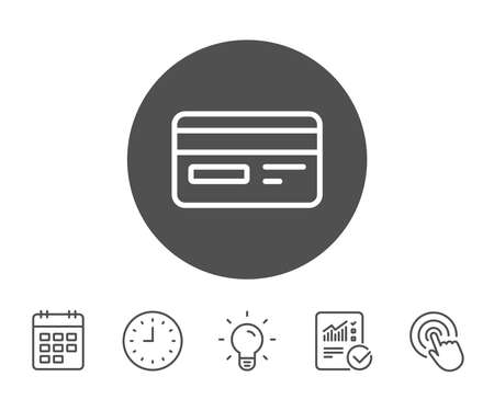 Credit card line icon. Bank payment method sign. Online Shopping symbol. Report, Clock and Calendar line signs. Light bulb and Click icons. Editable stroke. Vector