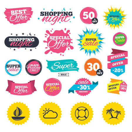Sale shopping banners. Travel icons. Sail boat with lifebuoy symbols. Cloud with sun weather sign. Palm tree. Web badges, splash and stickers. Best offer. Vector Illustration