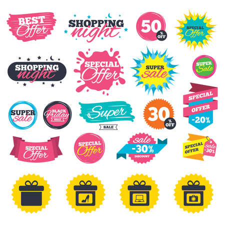 Sale shopping banners. Gift box sign icons. Present with bow symbols. Photo camera sign. Woman shoes. Web badges, splash and stickers. Best offer. Vector Çizim