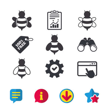 Honey bees icons. Bumblebees symbols. Flying insects with sting signs.