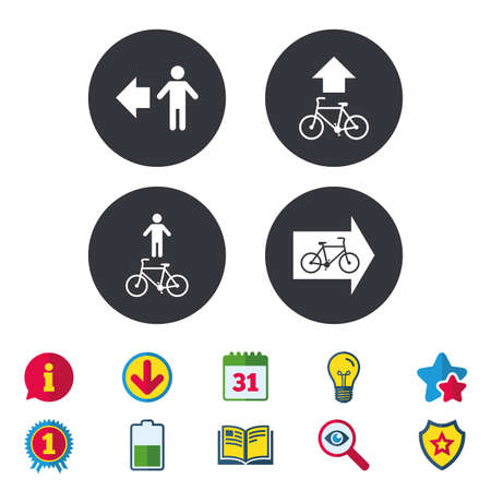 Pedestrian road icon. Bicycle path trail sign. Cycle path. Arrow symbol. Calendar, Information and Download signs.