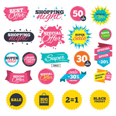 Sale shopping banners. Sale speech bubble icons. Two equals one. Black friday sign. Big sale shopping bag symbol. Web badges, splash and stickers. Best offer. Vector