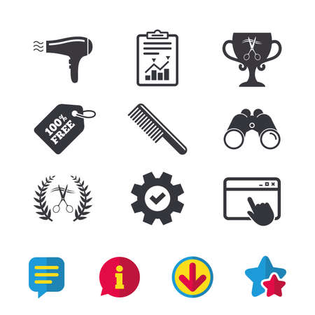 Hairdresser icons. Scissors cut hair symbol. Comb hair with hairdryer symbol. Barbershop laurel wreath winner award. Browser window, Report and Service signs. Vector Illustration