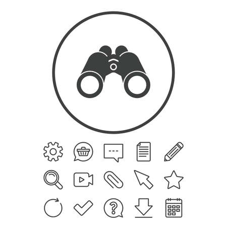Binoculars icon. Find software sign. Spy equipment symbol. Document, Chat and Paper clip line signs. Question, Pencil and Calendar line icons. Star, Download and Shopping cart. Vector Illustration