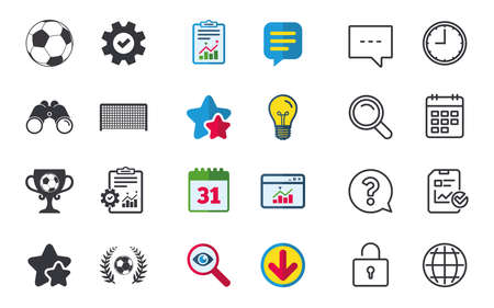 Football icons. Soccer ball sport sign. Goalkeeper gate symbol. Winner award cup and laurel wreath. Chat, Report and Calendar signs. Stars, Statistics and Download icons. Question, Clock and Globe