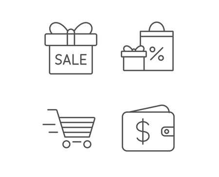 Geschenkdoos, korting en verkoop lijn pictogrammen. Winkelwagen symbool. Online kopen. Kwaliteitsontwerpelementen. Bewerkbare lijn. Vector Stock Illustratie