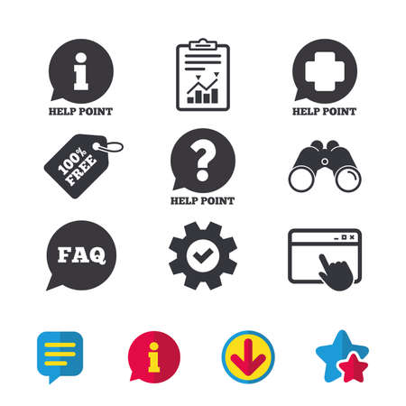 Help point icons. Question and information symbols. FAQ speech bubble signs. Browser window, Report and Service signs. Binoculars, Information and Download icons. Stars and Chat. Vector Ilustração