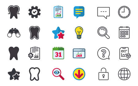 Tooth enamel protection icons. Dental toothpaste care signs. Healthy teeth sign. Chat, Report and Calendar signs. Stars, Statistics and Download icons. Question, Clock and Globe. Vector