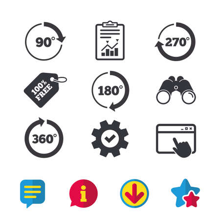Angle 45-360 degrees circle icons. Geometry math signs symbols. Full complete rotation arrow. Browser window, Report and Service signs. Binoculars, Information and Download icons. Stars and Chat