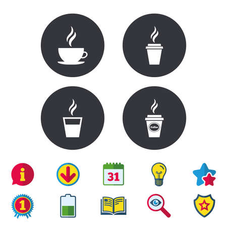 Coffee cup icon. Hot drinks glasses symbols. Take away or take-out tea beverage signs. Calendar, Information and Download signs. Stars, Award and Book icons. Light bulb, Shield and Search. Vector Stock fotó - 84955296