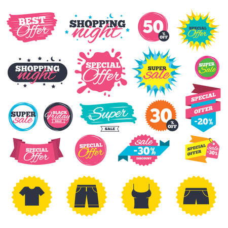 Sale shopping banners. Clothes icons. T-shirt and bermuda shorts signs. Swimming trunks symbol. Web badges, splash and stickers. Best offer. Vector