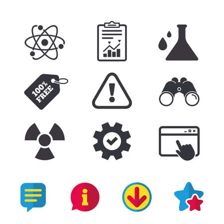 Attention and radiation icons. Chemistry flask sign. Atom symbol. Browser window, Report and Service signs. Binoculars, Information and Download icons. Stars and Chat. Vector