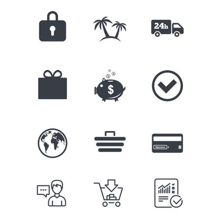 Online shopping, e-commerce and business icons. Credit card, gift box and protection signs. Piggy bank, delivery and tick symbols. Customer service, Shopping cart and Report line signs. Vector