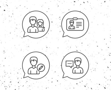 Speech bubbles with signs. Male and Female, Edit Profile and ID card line icons. Talk sign. Grunge background. Editable stroke.