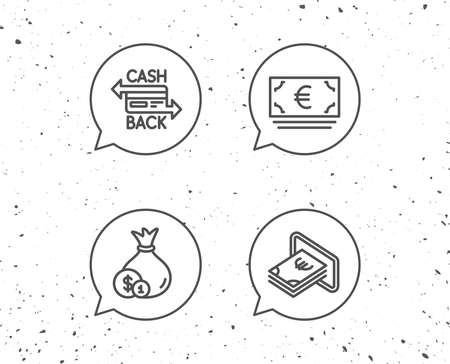 Speech bubbles with signs. Money bag, Cashback and ATM line icons. Credit card, Currency and Coins signs. Banking, Euro and Dollar symbols. Grunge background. Editable stroke. Illustration