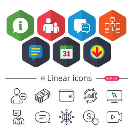 Calendar, Speech bubble and Download signs. Information sign. Group of people and database symbols. Chat speech bubbles sign. Communication icons. Chat, Report graph line icons. More linear signs