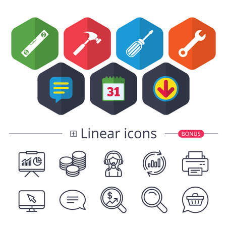 Calendar, Speech bubble and Download signs. Screwdriver and wrench key tool icons. Bubble level and hammer sign symbols. Chat, Report graph line icons. More linear signs. Editable stroke.