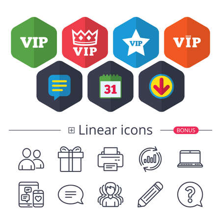 Calendar, Speech bubble and Download signs. VIP icons. Very important person symbols. King crown and star signs. Chat, Report graph line icons. More linear signs. Editable stroke. Vector