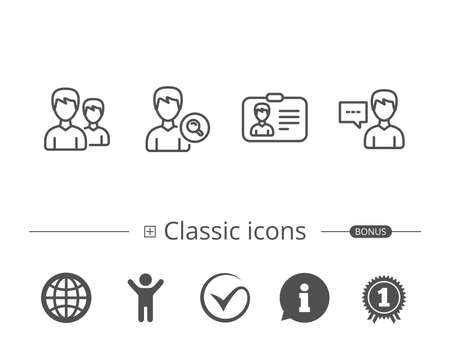 Group of Users, Search and ID card line icons. Profile and Talk signs. Information speech bubble sign. And more signs. Editable stroke. Illustration