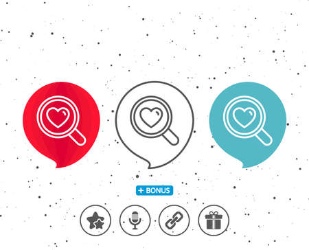 Speech bubbles with symbol. Love dating line icon. Search relationships sign. Valentines day symbol. Bonus with different classic signs. Random circles background.