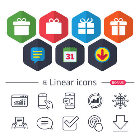 Calendar, Speech bubble and Download signs. Gift box sign icons. Present with bow and ribbons sign symbols. Chat, Report graph line icons. More linear signs. Editable stroke.