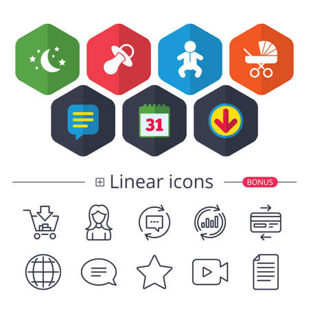 Calendar, Speech bubble and Download signs. Moon and stars symbol. Baby infants icon. Buggy and dummy signs. Child pacifier and pram stroller. Chat, Report graph line icons. More linear signs. Illustration