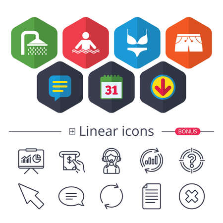 Calendar, Speech bubble and Download signs. Swimming pool icons. Shower water drops and swimwear symbols. Human stands in sea waves sign. Trunks and women underwear. Chat, Report graph line icons Ilustração