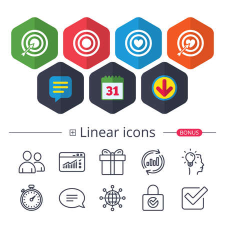 Calendar, Speech bubble and Download signs. Target aim icons. Darts board with heart and arrow signs symbols. Chat, Report graph line icons. More linear signs. Editable stroke.