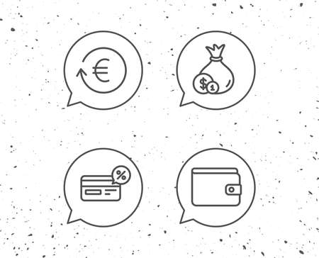 Speech bubbles with signs. Money, Cashback and Wallet line icons. Credit card, Currency exchange and Coins signs. Banking, Euro and Dollar symbols. Grunge background. Editable stroke.