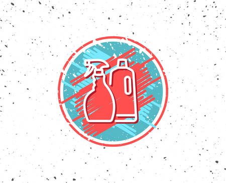 Grunge button with symbol. Cleaning spray and Shampoo line icon. Washing liquid or Cleanser symbol. Housekeeping equipment sign. Random background. 向量圖像
