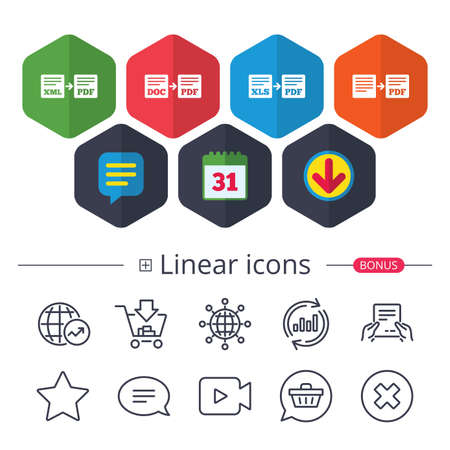 Calendar, Speech bubble and Download signs. Export file icons. Convert DOC to PDF, XML to PDF symbols. XLS to PDF with arrow sign. Chat, Report graph line icons. More linear signs. Editable stroke Illustration