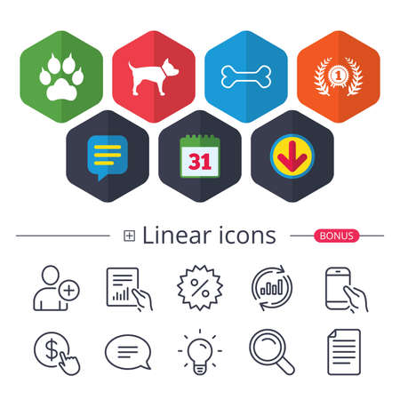 Calendar, Speech bubble and Download signs. Pets icons. Cat paw with clutches sign. Winner laurel wreath and medal symbol. Pets food. Chat, Report graph line icons. More linear signs. Editable stroke Ilustrace