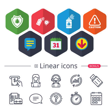 Calendar, Speech bubble and Download signs. Bug disinfection icons. Caution attention and shield symbols. Insect fumigation spray sign. Chat, Report graph line icons. More linear signs. Ilustracja