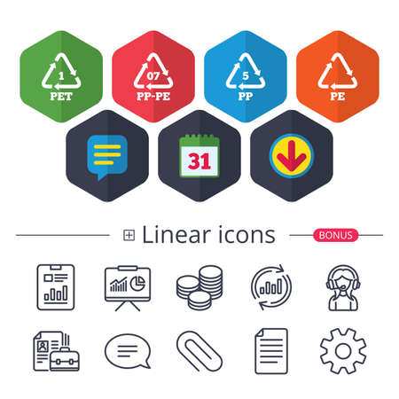 Calendar, Speech bubble and Download signs. PET 1, PP-pe 07, PP 5 and PE icons. High-density Polyethylene terephthalate sign. Recycling symbol. Chat, Report graph line icons. More linear signs Çizim