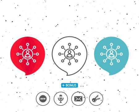 연설 거품 기호입니다. 비즈니스 네트워킹 아이콘입니다. 팀웍 또는 인적 자원 서명. 다른 고전적인 표시가있는 보너스. 무작위 서클 배경입니다. 일러스트