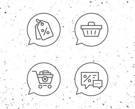 징후와 연설 거품입니다. 쇼핑 카트, 할인 쿠폰 및 판매 아이콘입니다. 연설 거품 기호입니다. 온라인 구매. 그런 지 배경입니다. 편집 가능한 획. 벡터 일러스트