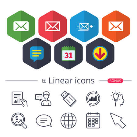 Calendar, Speech bubble and Download signs. Mail envelope icons. Message delivery symbol. Post office letter signs. Chat, Report graph line icons. More linear signs. Editable stroke. Vector Illustration