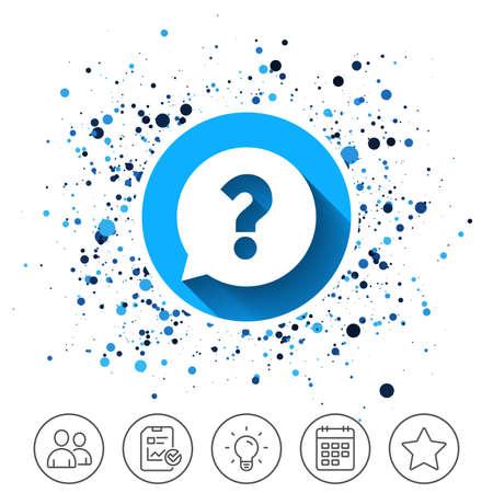 円の背景のボタン。疑問符記号アイコン。スピーチバブルシンボルを助けます。よくある質問のサイン。カレンダー行アイコン。そして、より多く